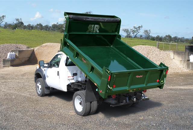 Rugby Eliminator Dump - Rugby Manufacturing's Eliminator LP Dump Body is the industry leader in Class 3-5.Featuring a sleek, streamlined style and designed for maximum durability, these units are available in 9' to 12' lengths with 12 and 17