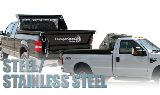 DumperDogg Dump Insert - Transform any normal pickup box into a handy dump with a DumperDogg dump insert. Available to fit short and long boxes in steel and stainless steel construction. Cab guard and board pockets included. Tarp kits, extension sides, and other accessories extra.