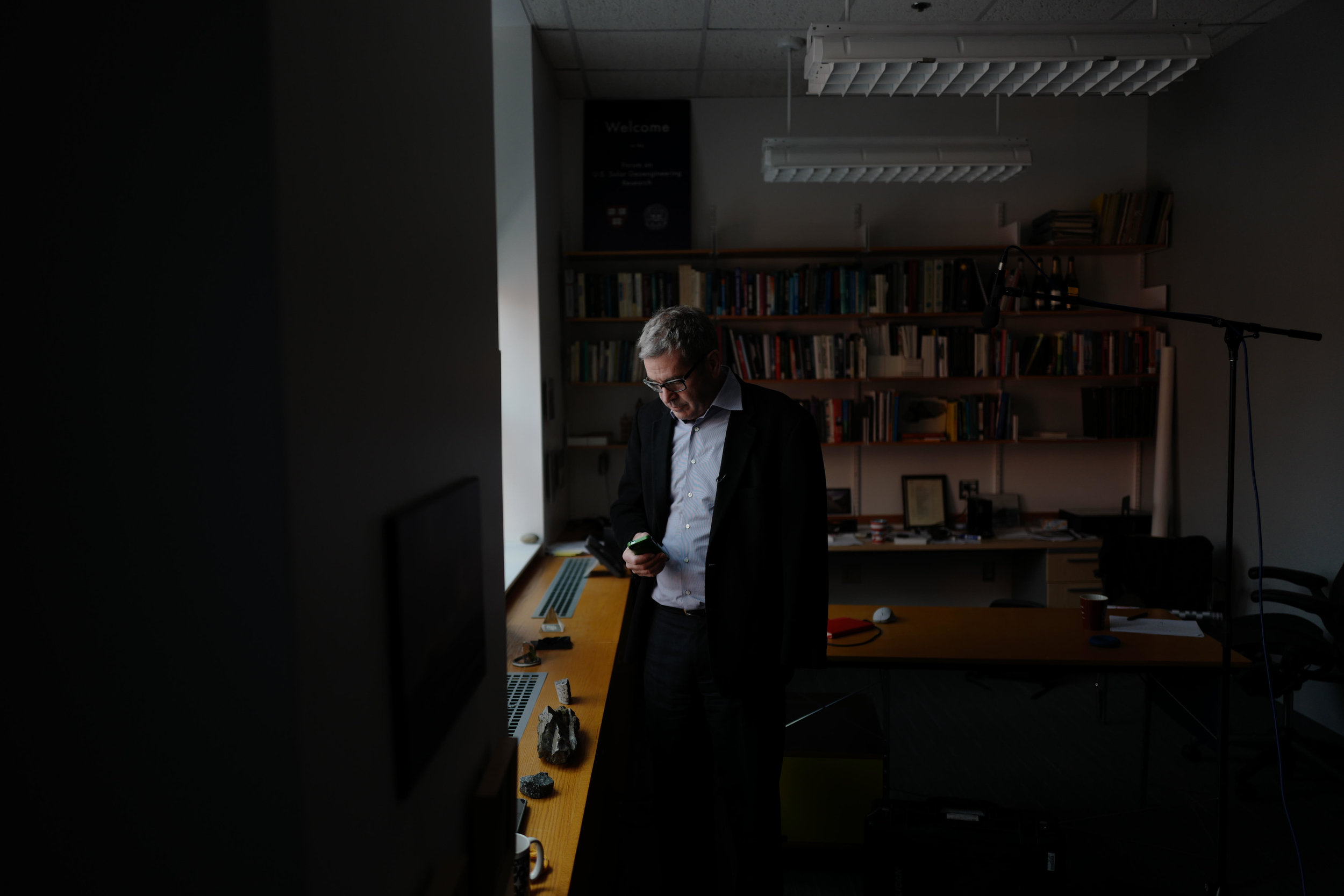 PBS/CNN Correspondent Miles O'Brien prepping for an interview with Climate Engineer David Keith at Harvard University