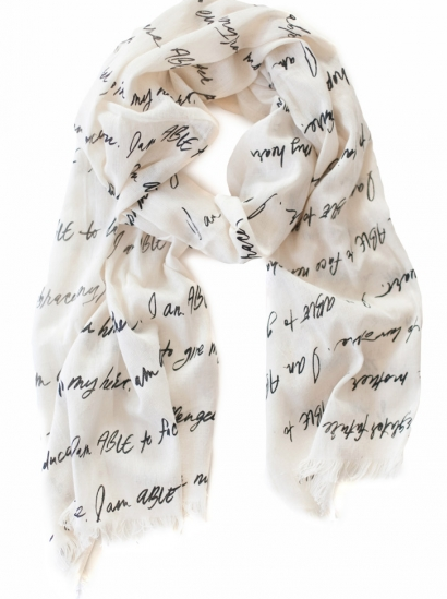 The ABLE Scarf- $48    This scarf  by  fashionABLE  is handwoven in Ethipoia, and screen printed in Nashville with the beautiful words from women who have been empowered with jobs through this wonderful company. This scarf truly tells a story of what these women were ABLE to do when they were given the opportunity to do so-- how cool is that? I have two other scarves from fashionABLE and love them so much.