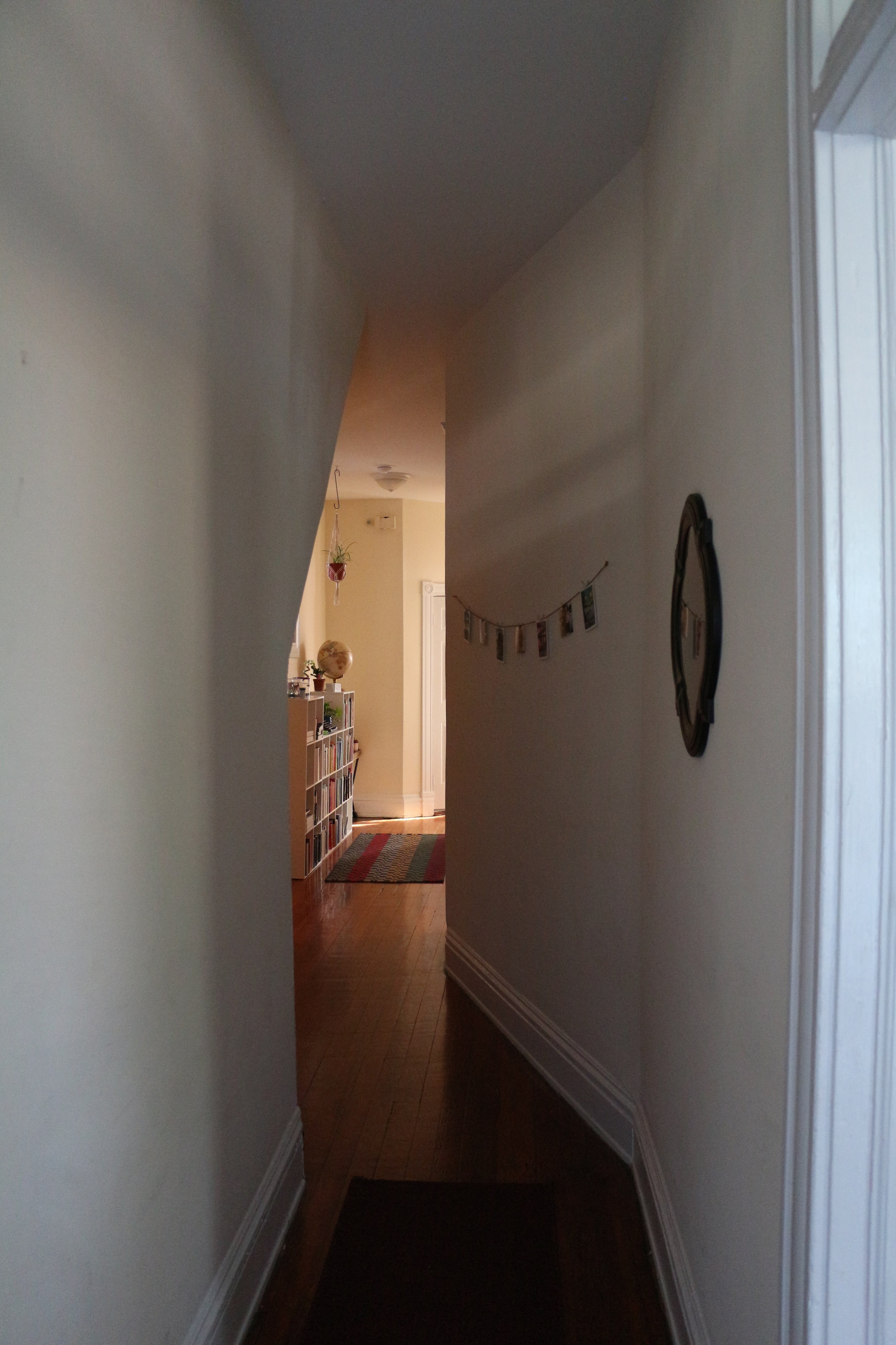 The view down the hallway from the front door. (living room is just to the right)