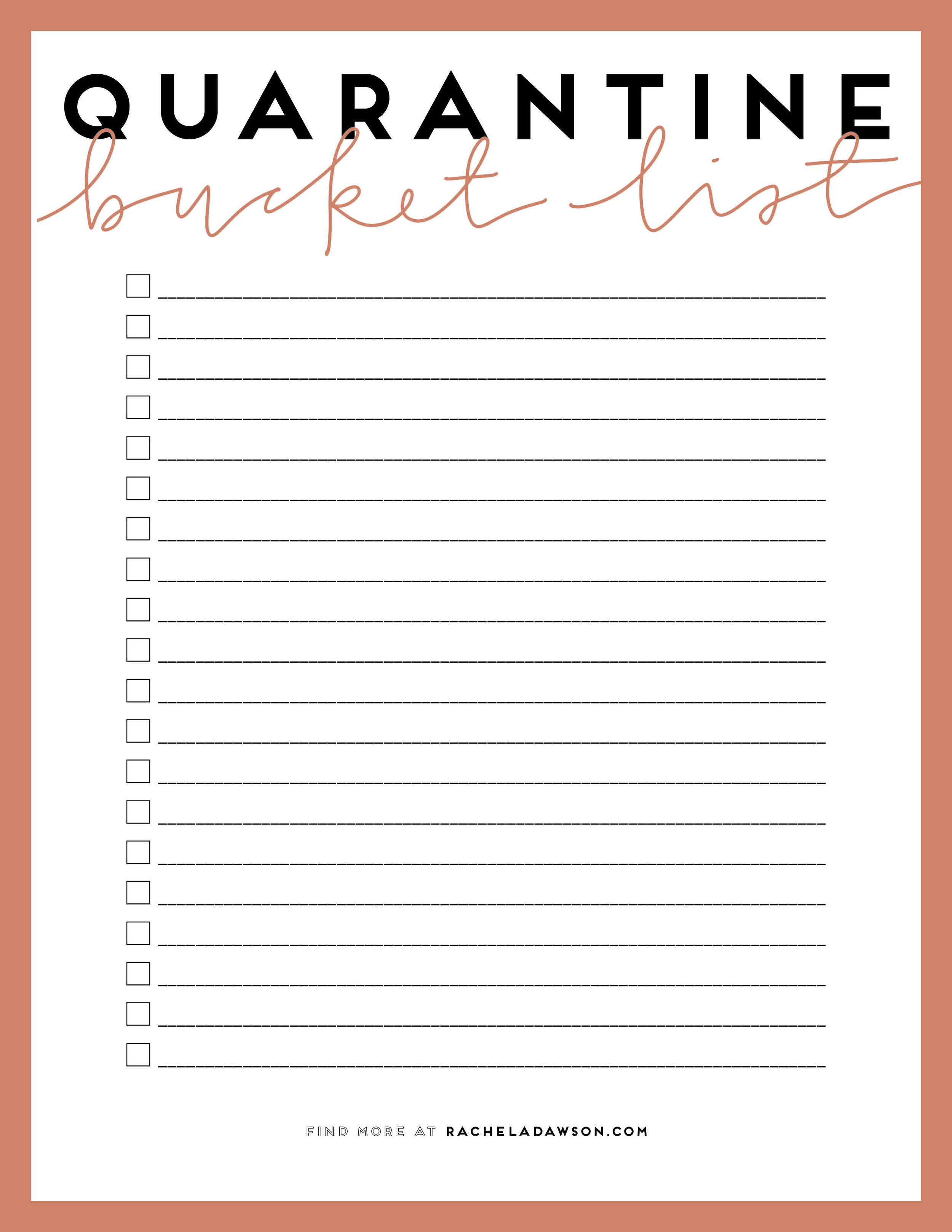 A Quarantine Bucket List 50 Ideas A Free Printable Rachel A Dawson