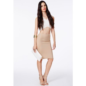 MISSGUIDED CANDACE SCUBA MIDI SKIRT IN TAUPE