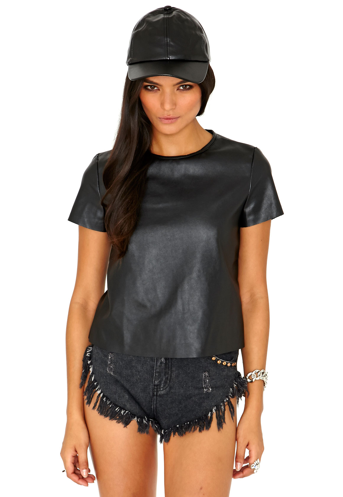 MISSGUIDED Black Faux Leather Tee