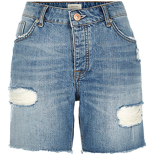 RIVER ISLAND Mid wash distressed boyfriend denim shorts