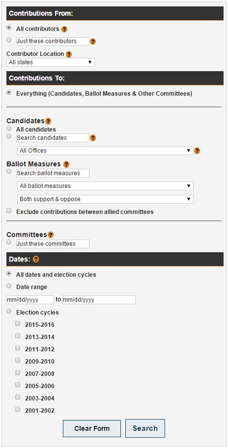 A view of the search options available through the Advanced Power Search interface.