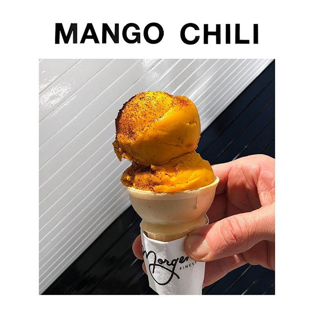 #1 MANGO CHILI. From the beaches of Tulum to the streets of Bushwick to Morgenstern's, this is a full body mango sorbet with a kick of 🌶  #88flavors