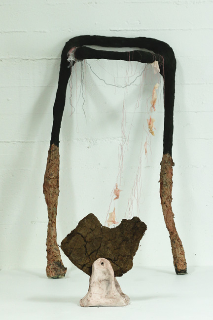 """Power Stance"" Metal, Paper mache, paper pulp, string, rope, latex, dirt, acrylic, shoe wax"