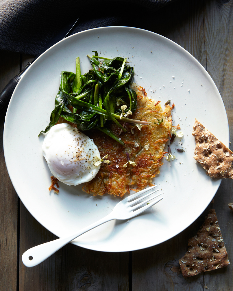 poached eggs over rosti with sauteed ramp greens