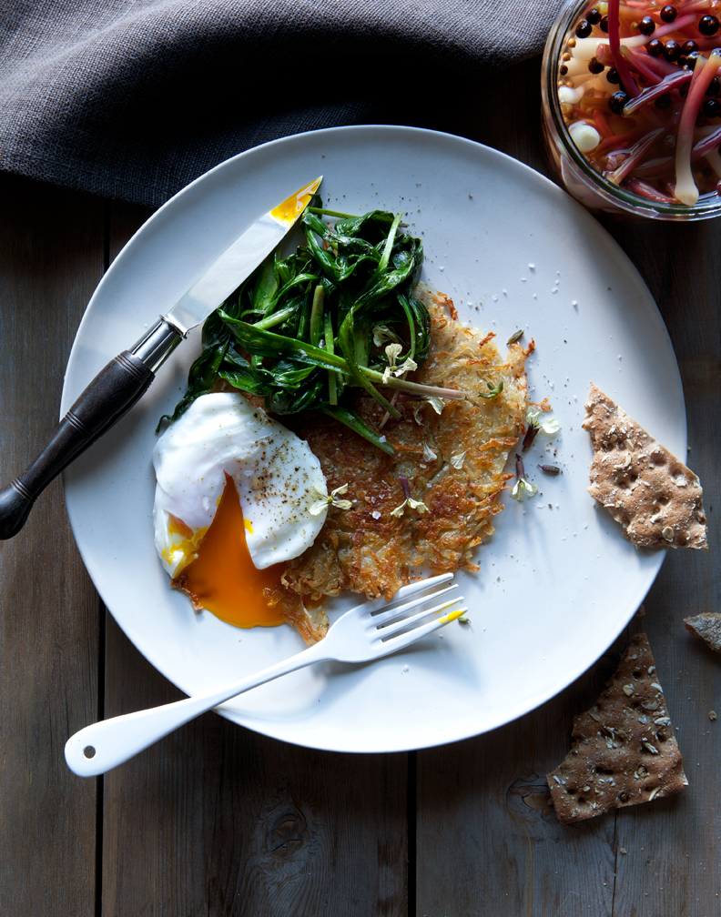 poached eggs over rosti with sauteed ramp greens and pickled ramps