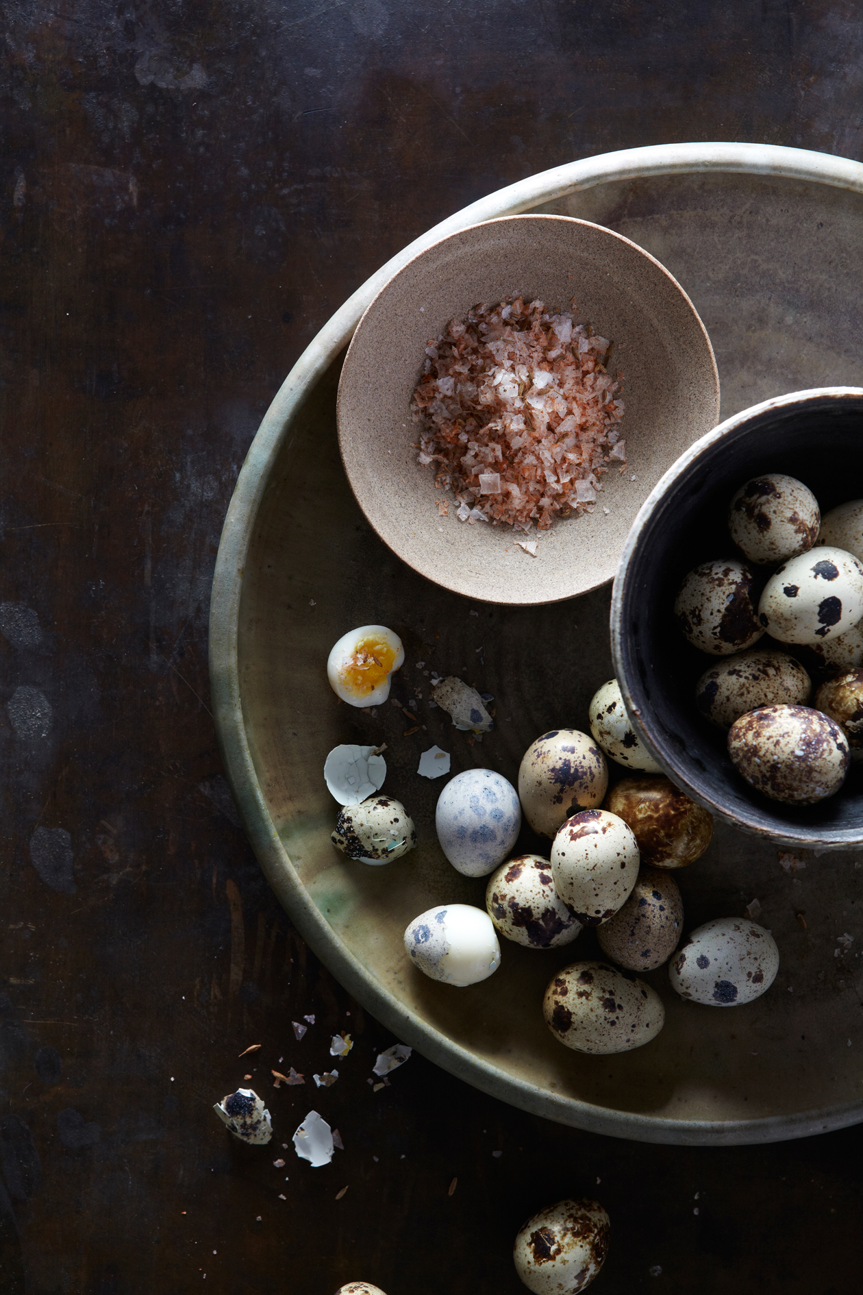 quail eggs with flavored salt