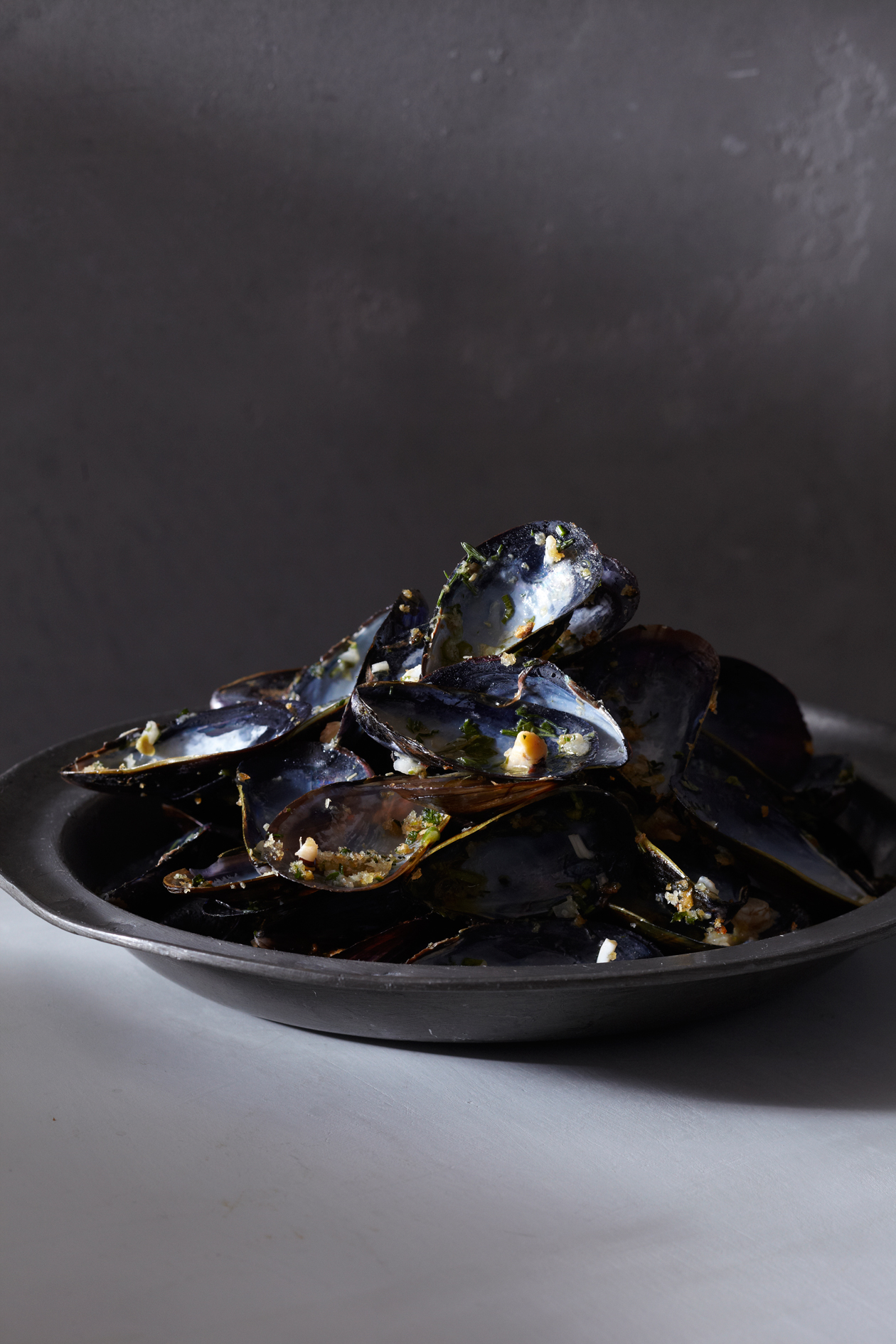 remnants of mussels on the half shell