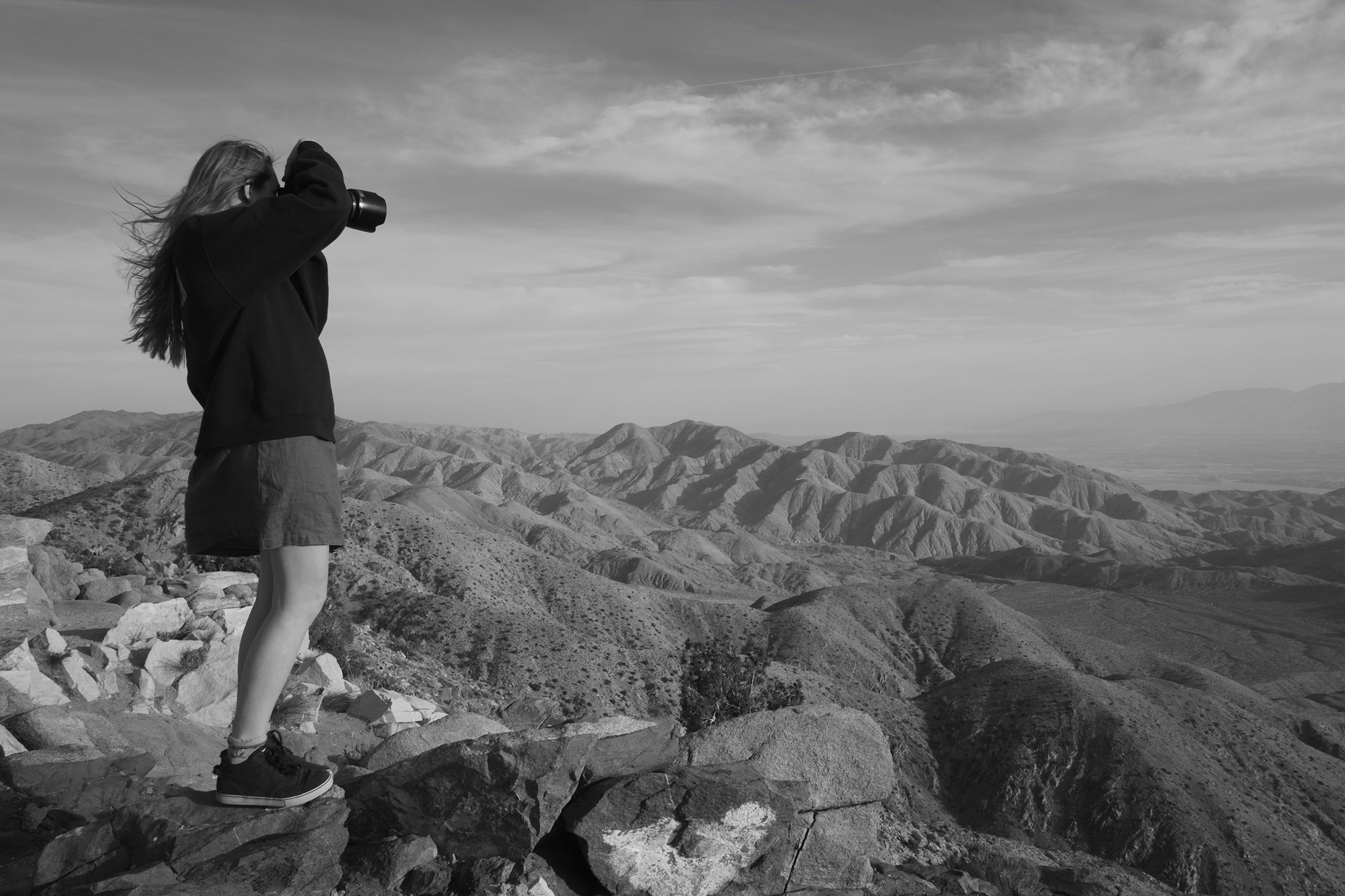 Lula photographing at Keys View Joshua Tree National Park. View of entire Coachella Valley, Palm Springs, San Andreas Fault all the way to The Salton Sea.
