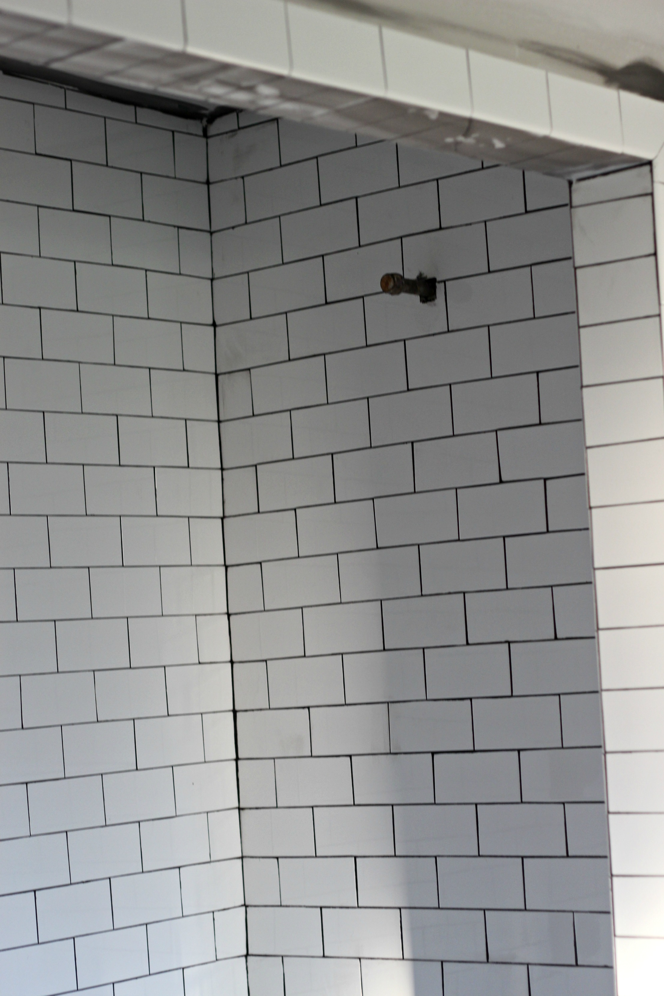 Shower with new subway tile