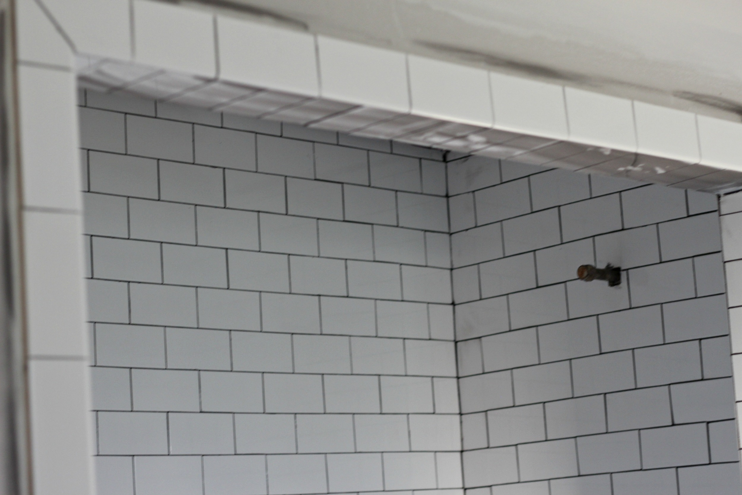 New subway tile in shower