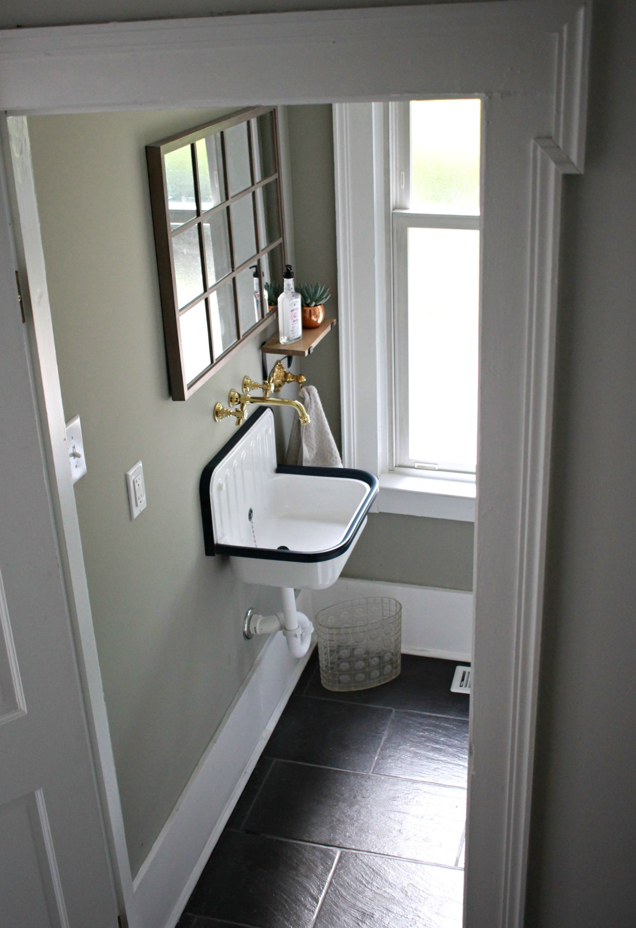 Downstairs Half Bath Before After Gathered Living