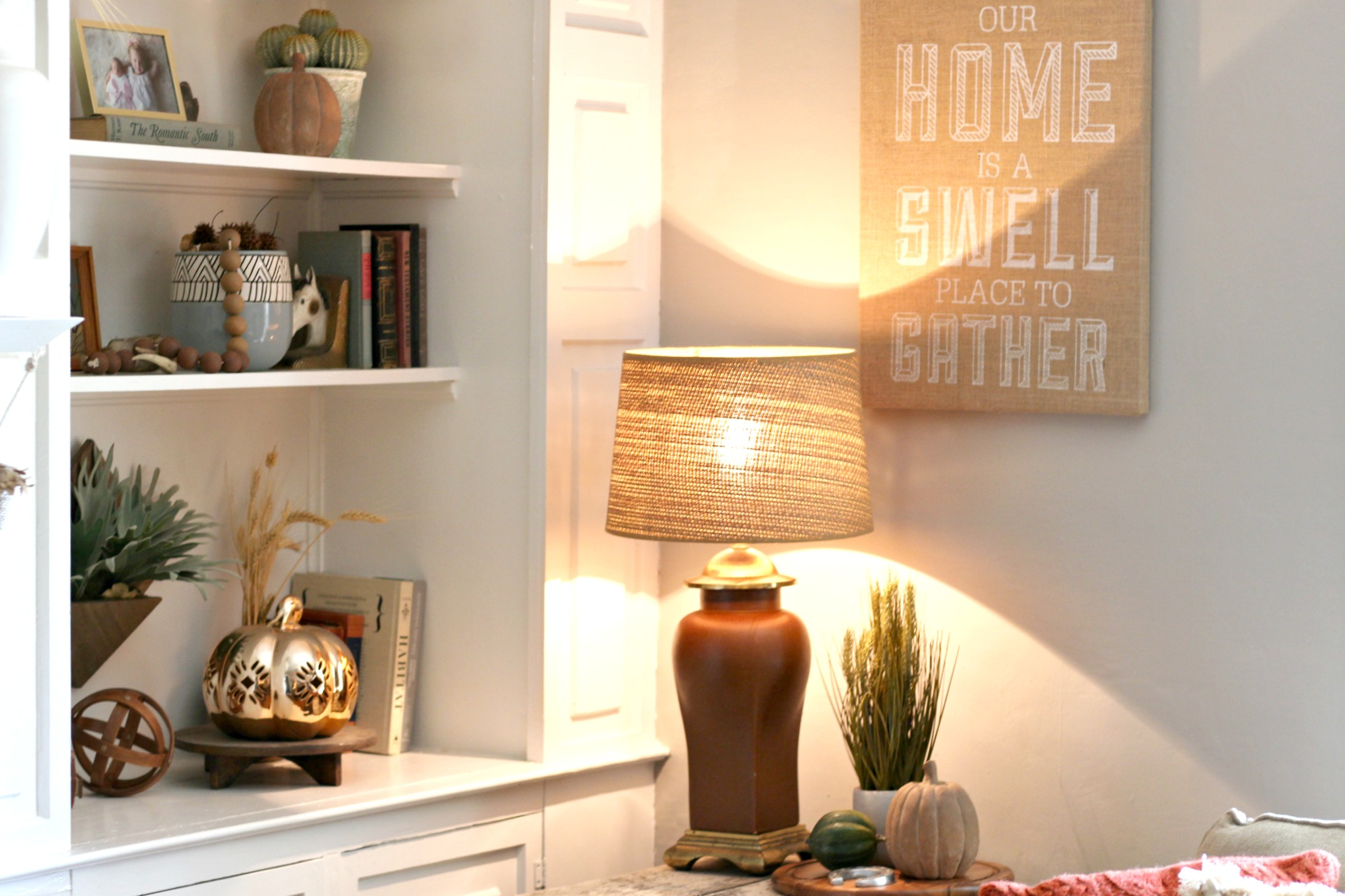 "Lamps: thrifted/vintage |  Lampshade:  Target  (old)   |   ""Gather"" sign:  Target  (old)   