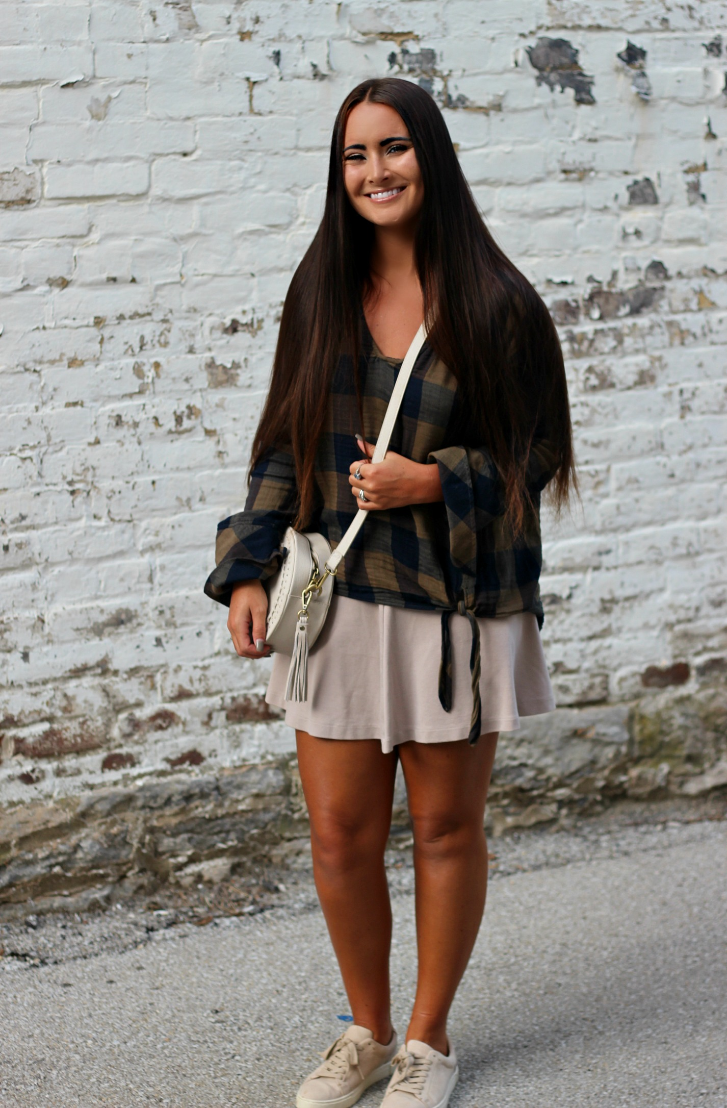 Plaid top    |     Skirt (old-similar here)    |    Sneakers    |    Purse