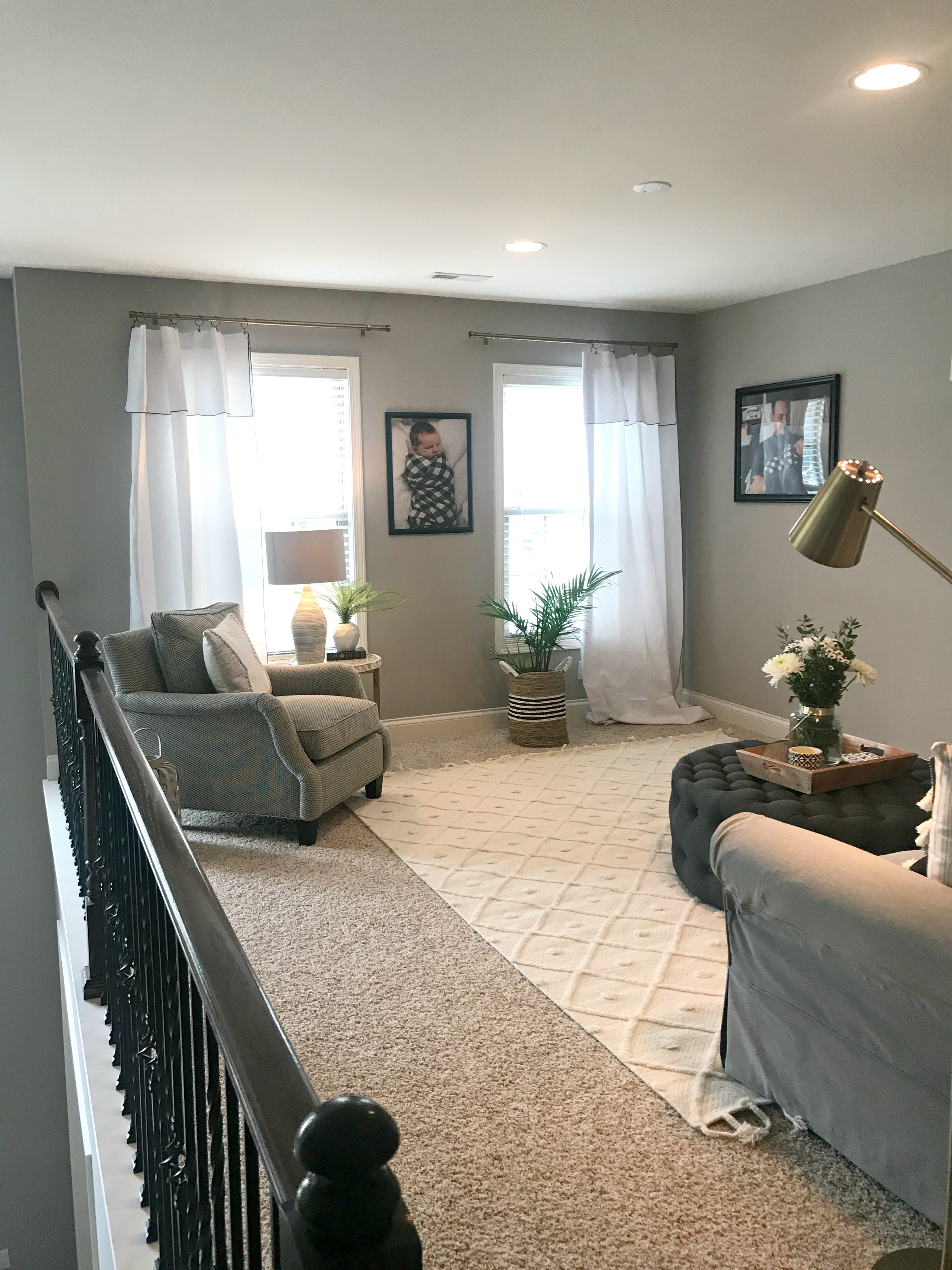 curtain rods  |  curtains   | chair- Arhaus  | frames-  At Home  | basket-  Homegoods  |  rug