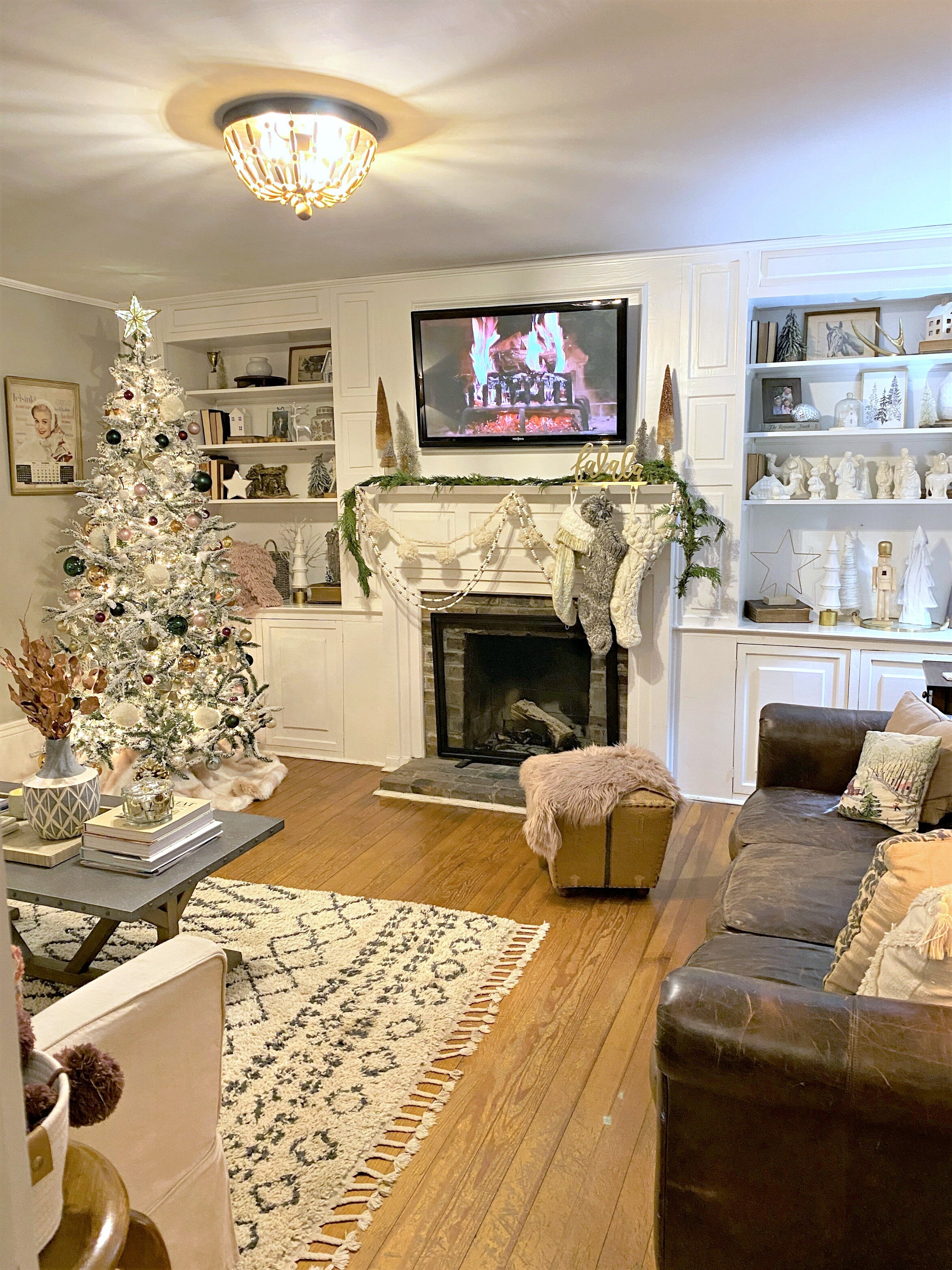 Holiday Home Tour 2019 Neutral White Christmas Living Room Gathered Living