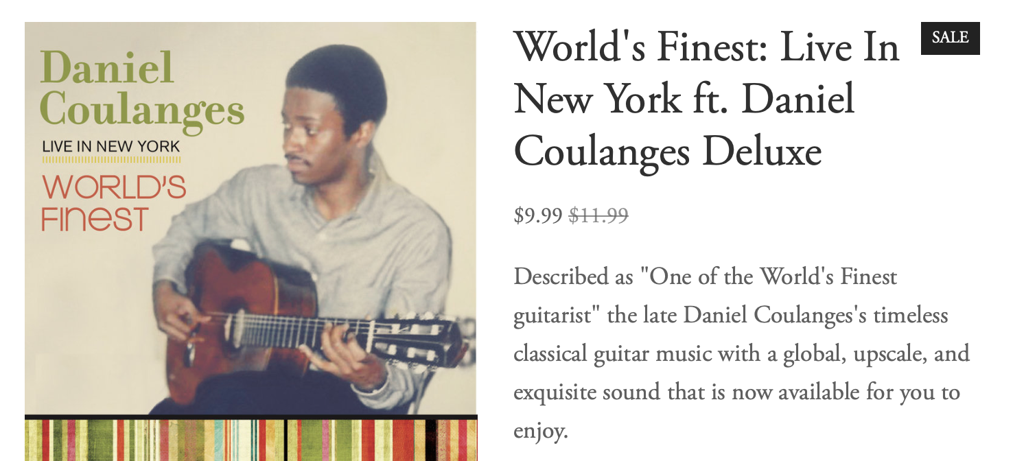 World Finest: Live in New York ft. Daniel Coulanges  Deluxe Edition (Digital Download)