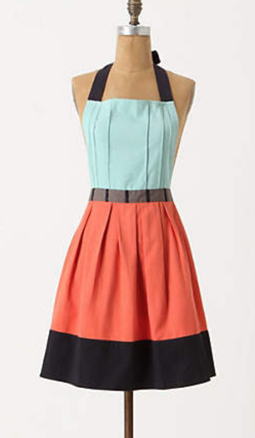 color blocked apron in cotton from Anthropologie