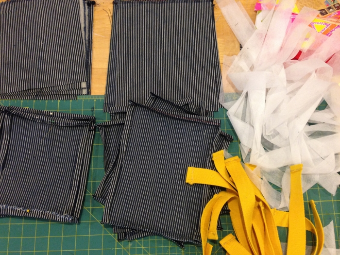 pre cut pockets, waist ties and interfacing for waist bands
