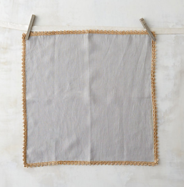 crocheted napkin edge from Terrain