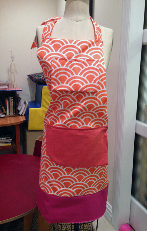 orange canvas apron