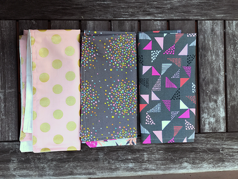 Pink, blush and grey napkin collection, reversible to pink pineapple, gold metallic dots and grey squares.  Mix and match!