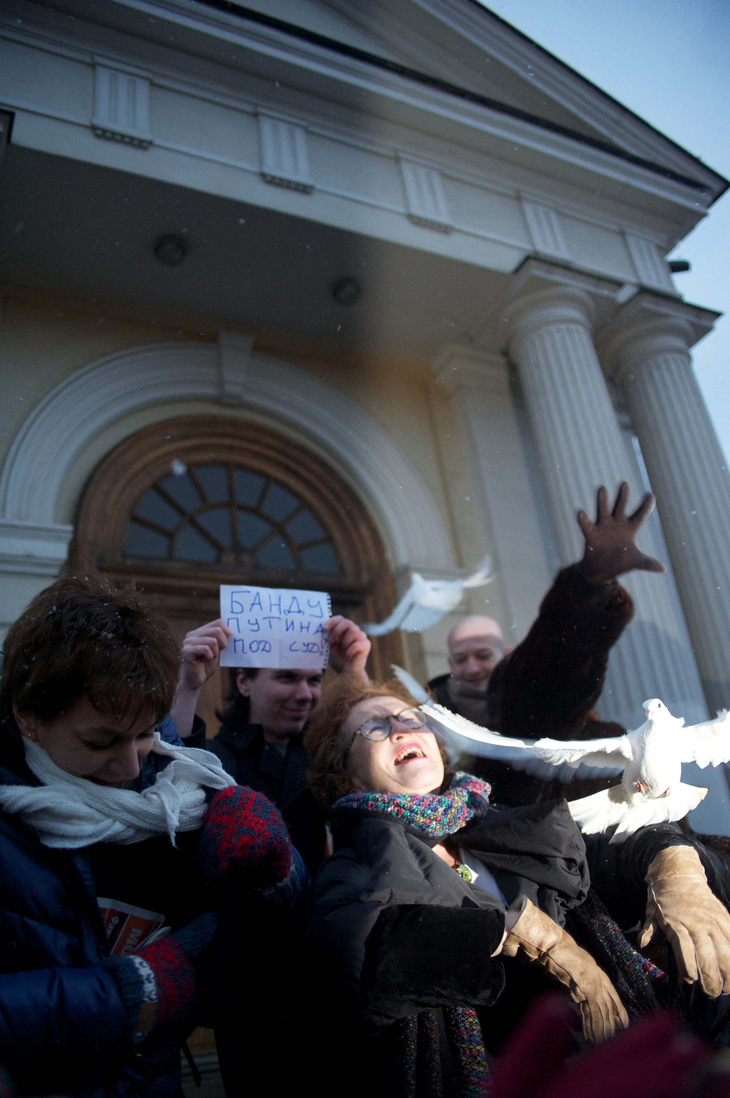 Protest against war in Ukraine near the Ministry of Defense in Moscow, Russia.