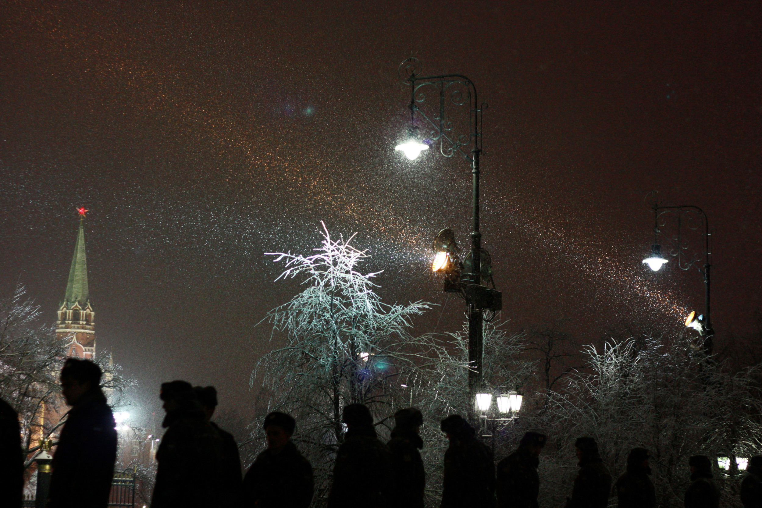 Police сardon stands near the Red Square before New Year celebration in Moscow, Russia.