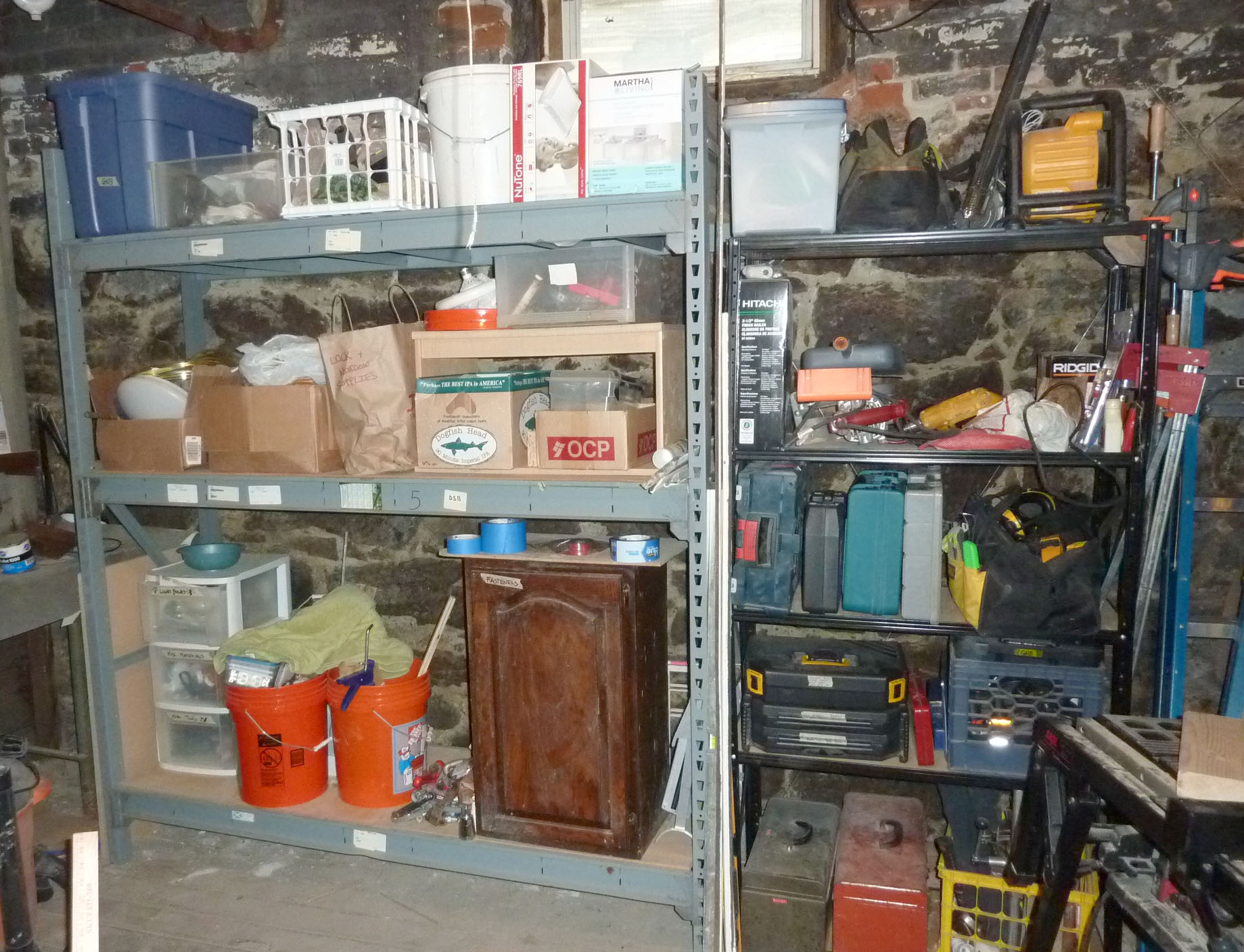 Sturdy shelving from the Reuse Center has added storage to the basement.