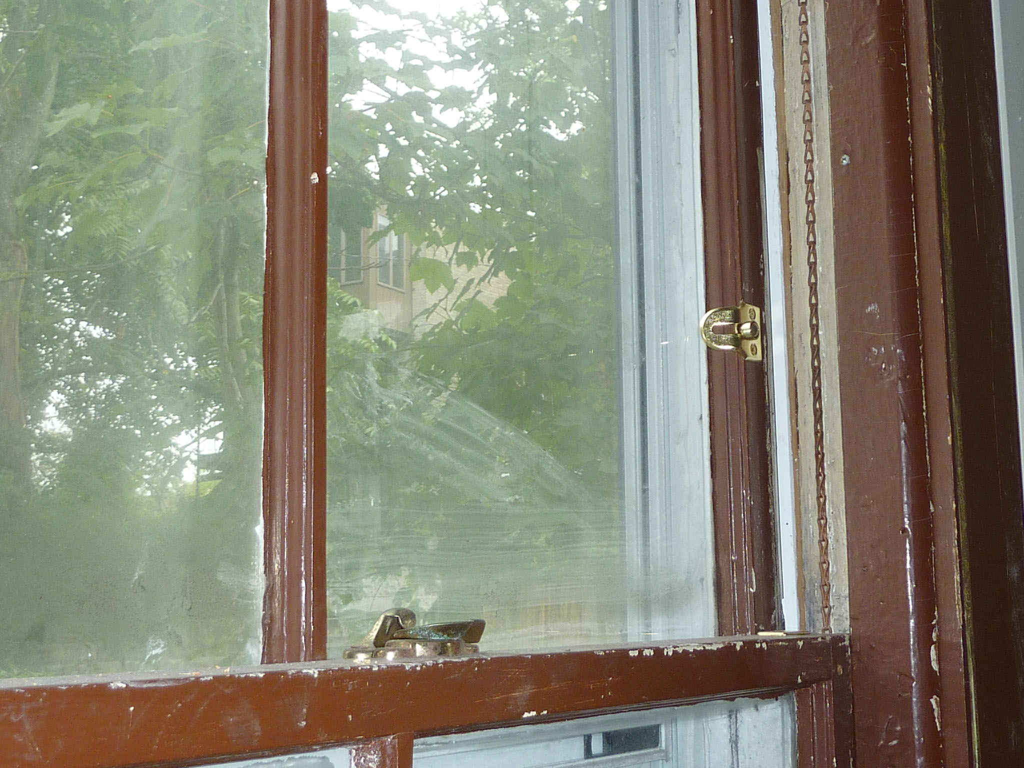 Many windows have been rehabbed and outfitted with sash locks and chain.