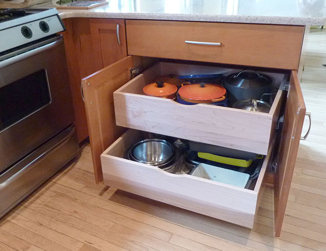 Pullouts make storage space easy to access.