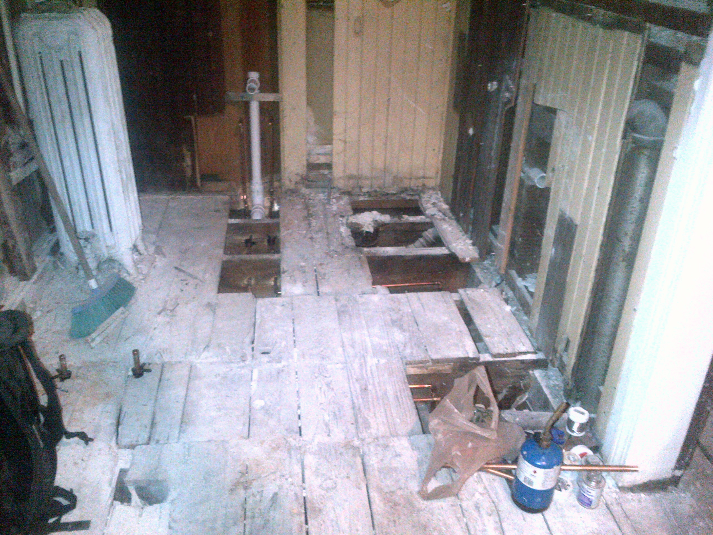 Significant water damage had been done to the bathroom floor.