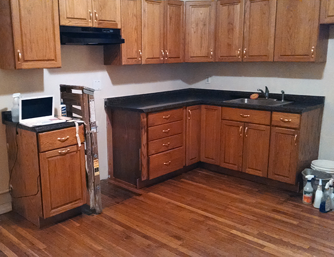 Oak cabinets from the Reuse Center