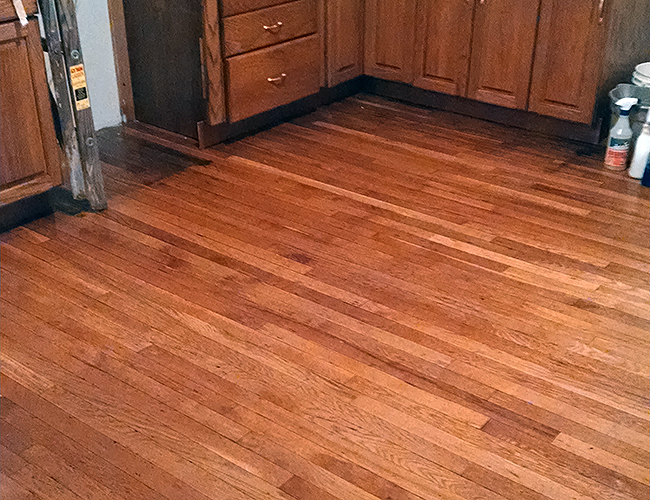 Refinished wood floor looks great!