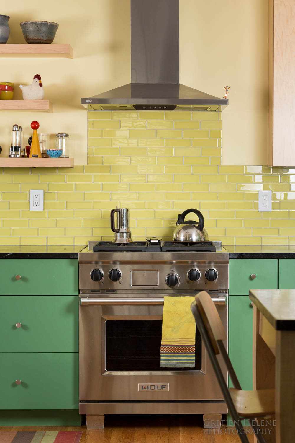 Tile defines the range backsplash