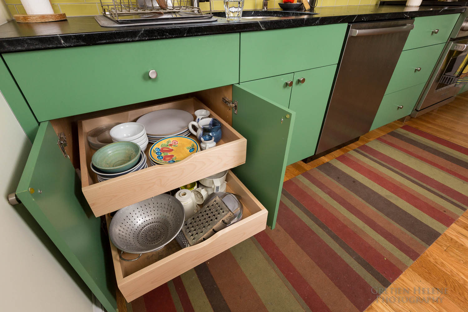 Base cabinet pullouts make access easy