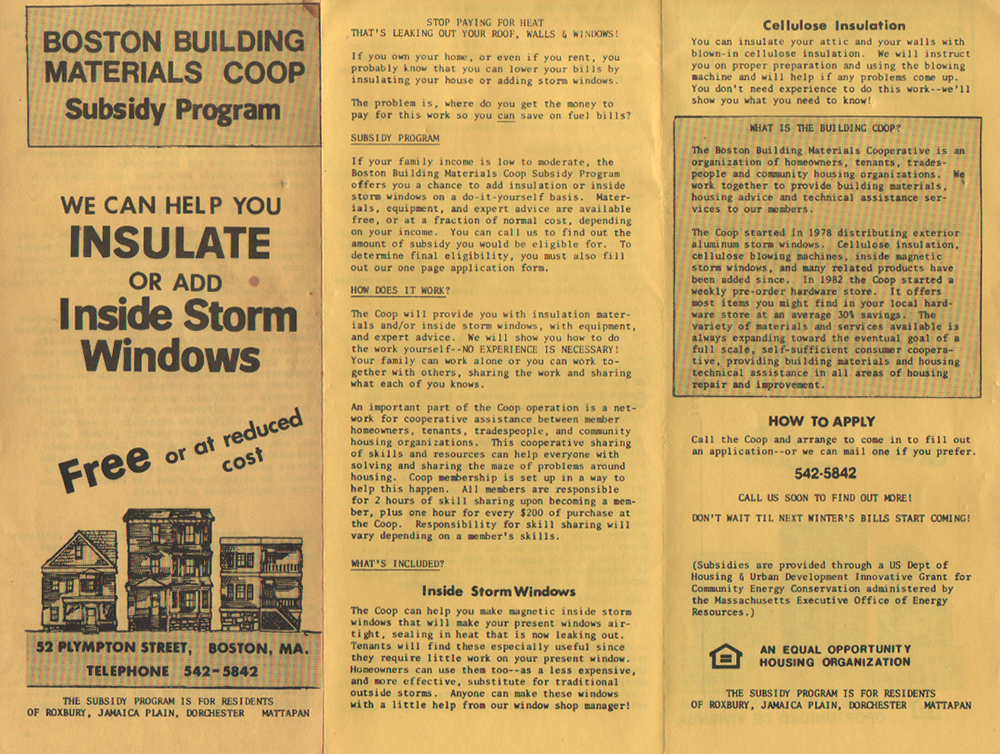 Subsidized insulation and storm window programs circa 1982