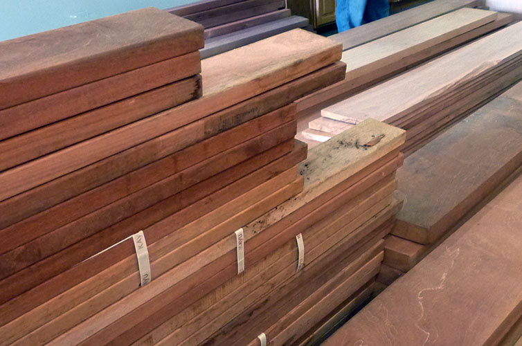 Here's the mahogany lumber when it was first put out for sale in the Reuse Center.