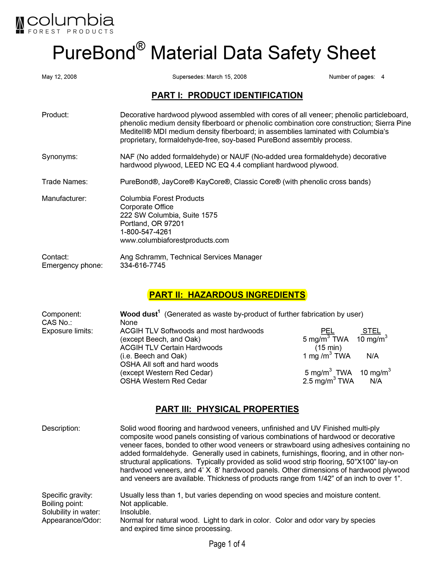 Sample MSDS for Purebond plywood