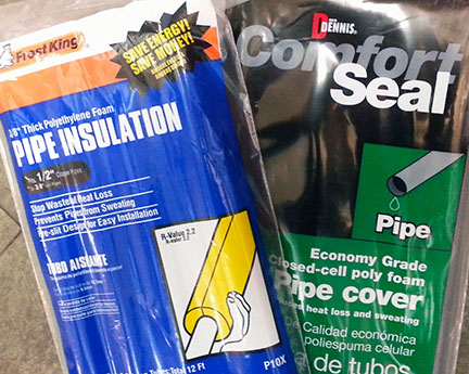 Pipe insulation from Boston Building Resources is available starting at $3.39 for 12 linear feet.