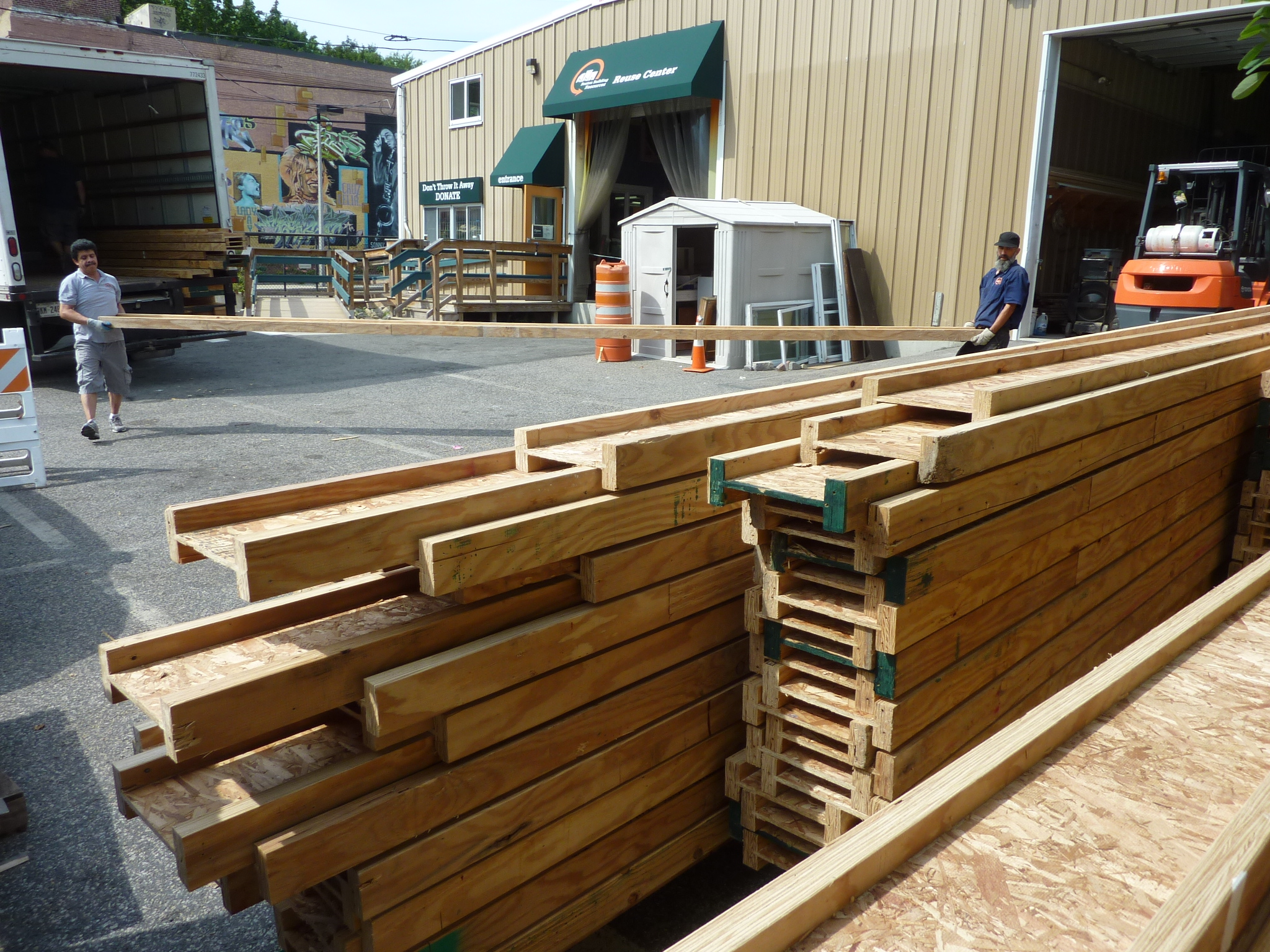 Materials from a dismantled movie set were donated to the Reuse Center at BBR.