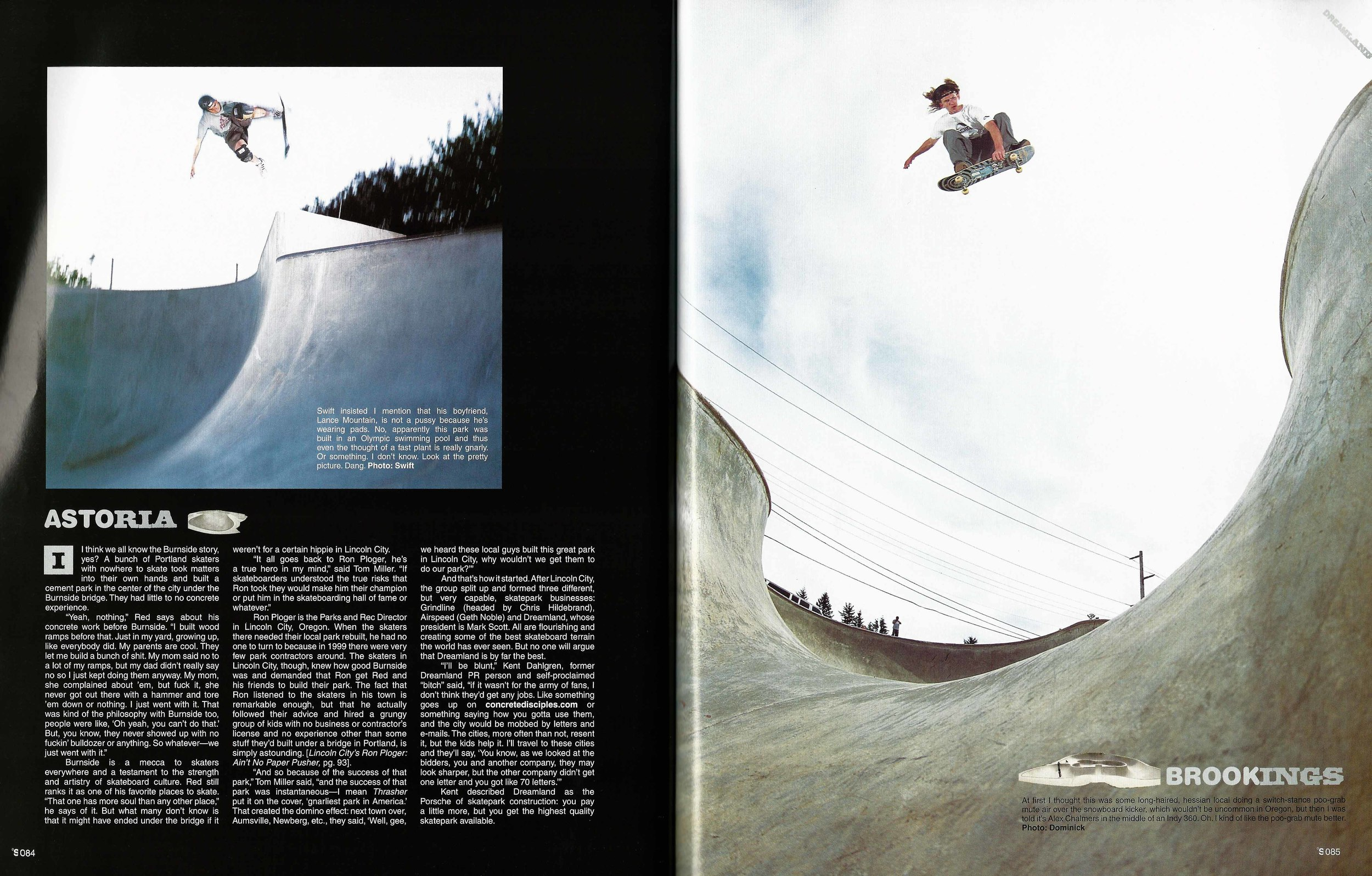 Lance Mountain and Alex Chalmers, Astoria, OR and Brookings, OR. The Skateboard Mag. Photo: Swift (left) and Dominick (right)