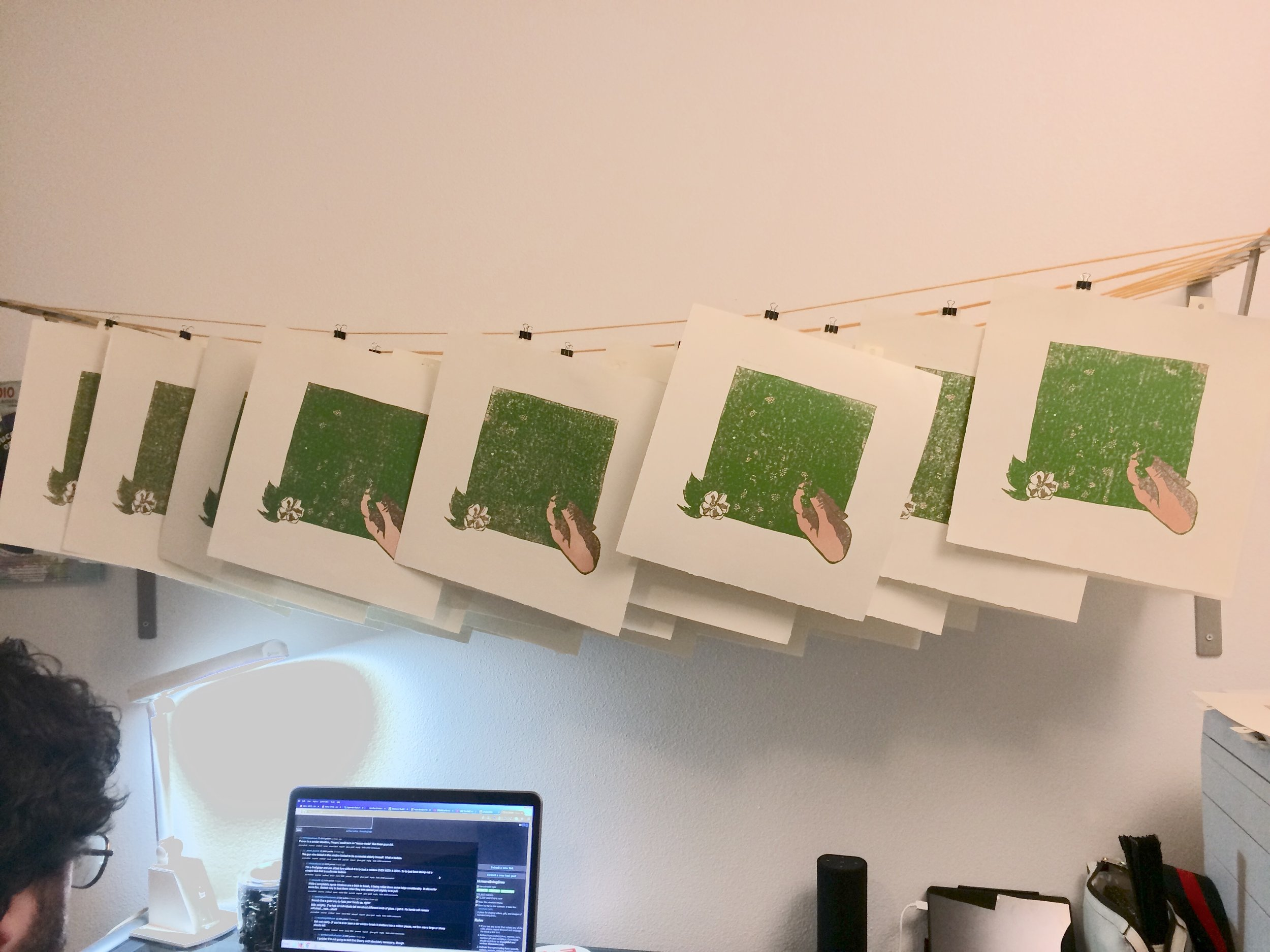 Printing for layer 3 is light green, and it reveals the hand shape. Husband in the picture as a bonus.