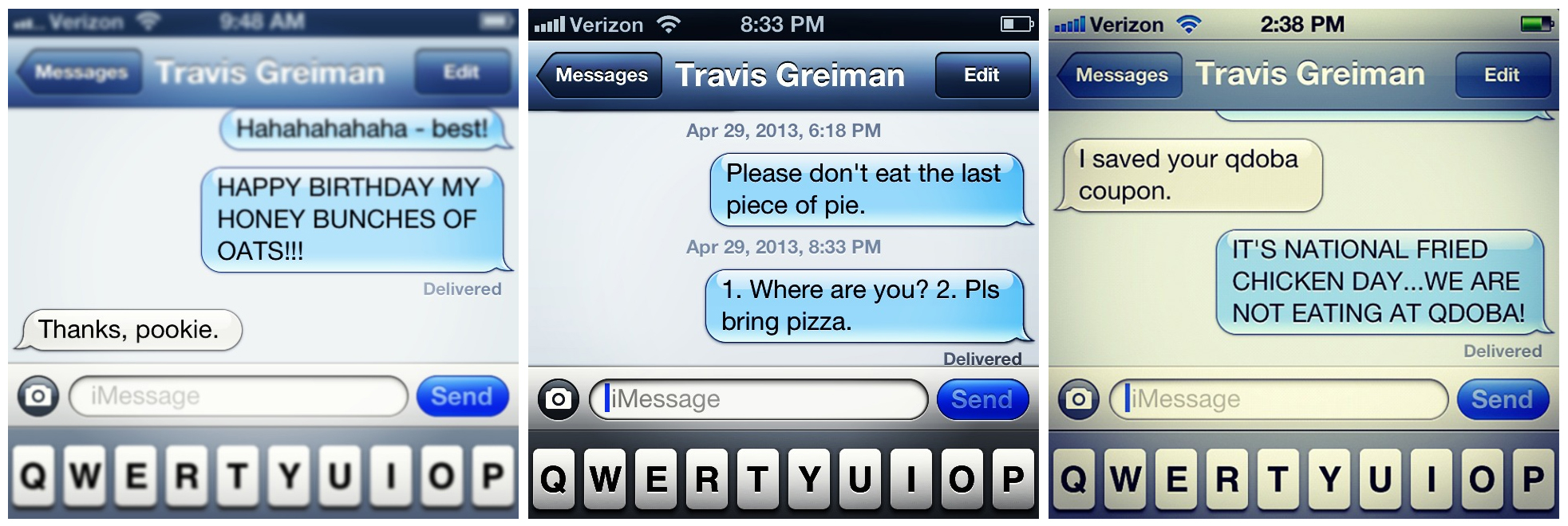 I had no idea how much I texted about food. Or how much I yelled about it.