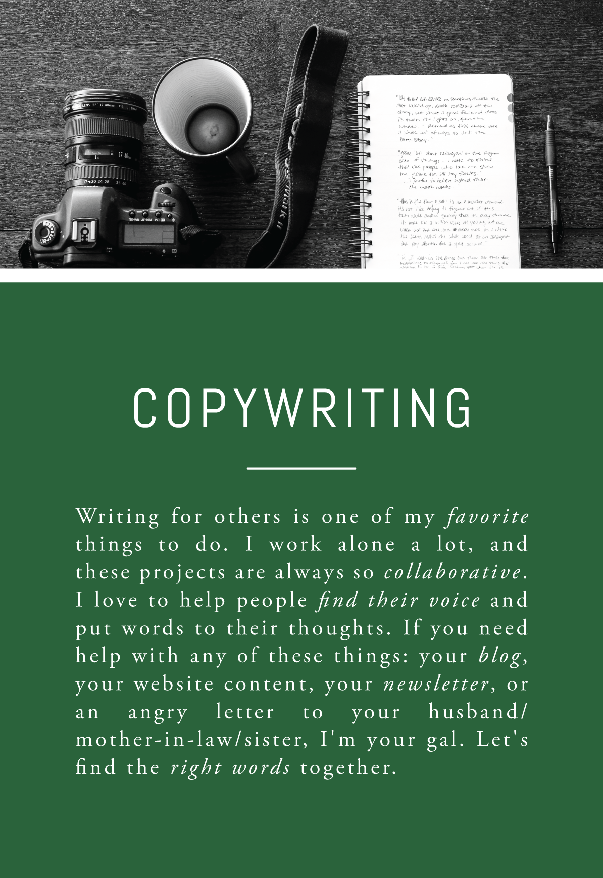 Rachel Greiman Green Chair Stories Booking  Copywriting Content Writer