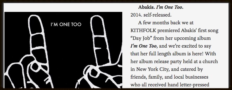 I'm ONE TOO ALBUM REVIEW: KITHFOLK MUSIC BLOG - 2015